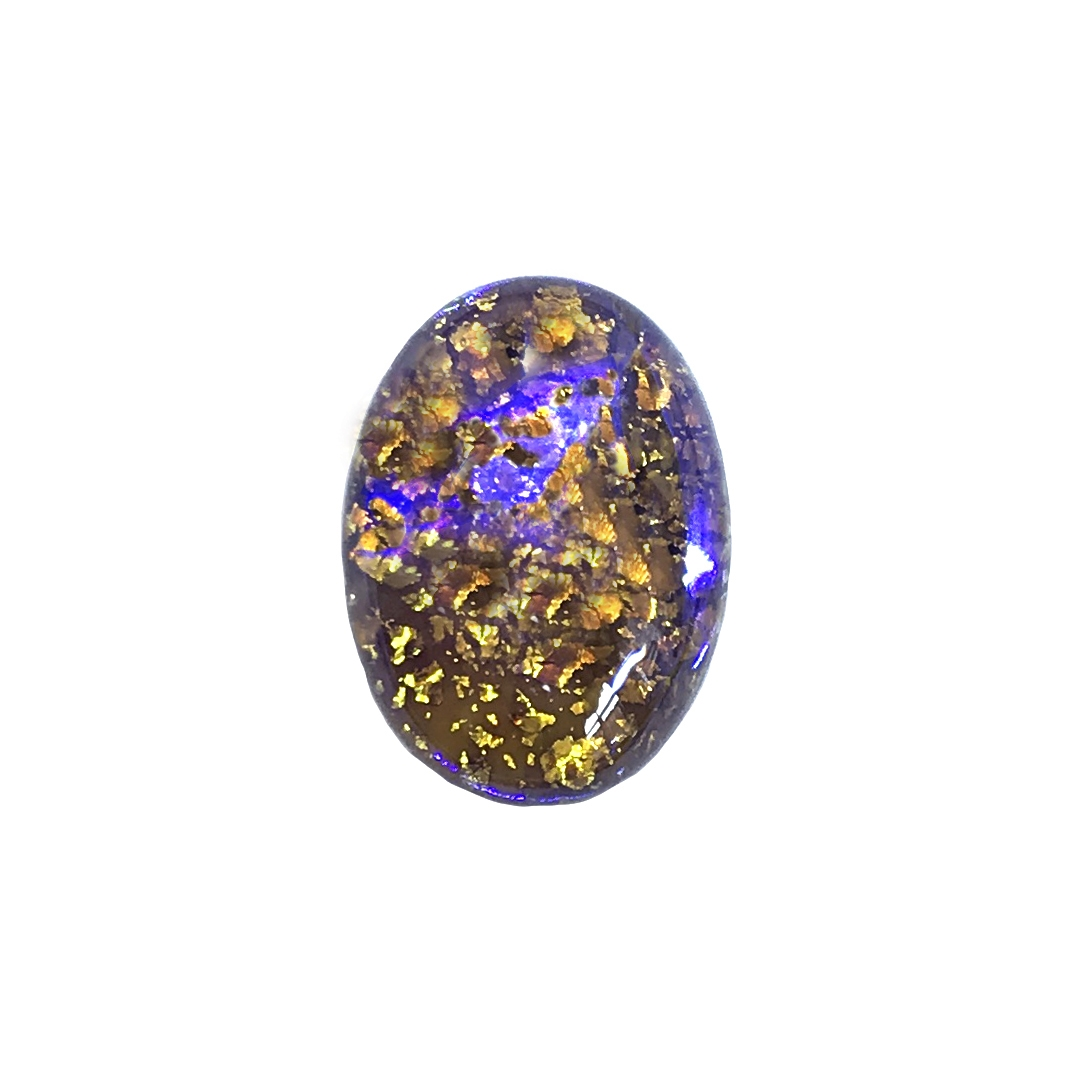 Czech topaz opal, stone, 25 x 18mm, opal, topaz opal, oval stone, simulated imitation, hand-worked glass, glass, glass stone, Czech, opal stone, b'sue boutiques, jewelry findings, 0818, blue violet, neutral colors