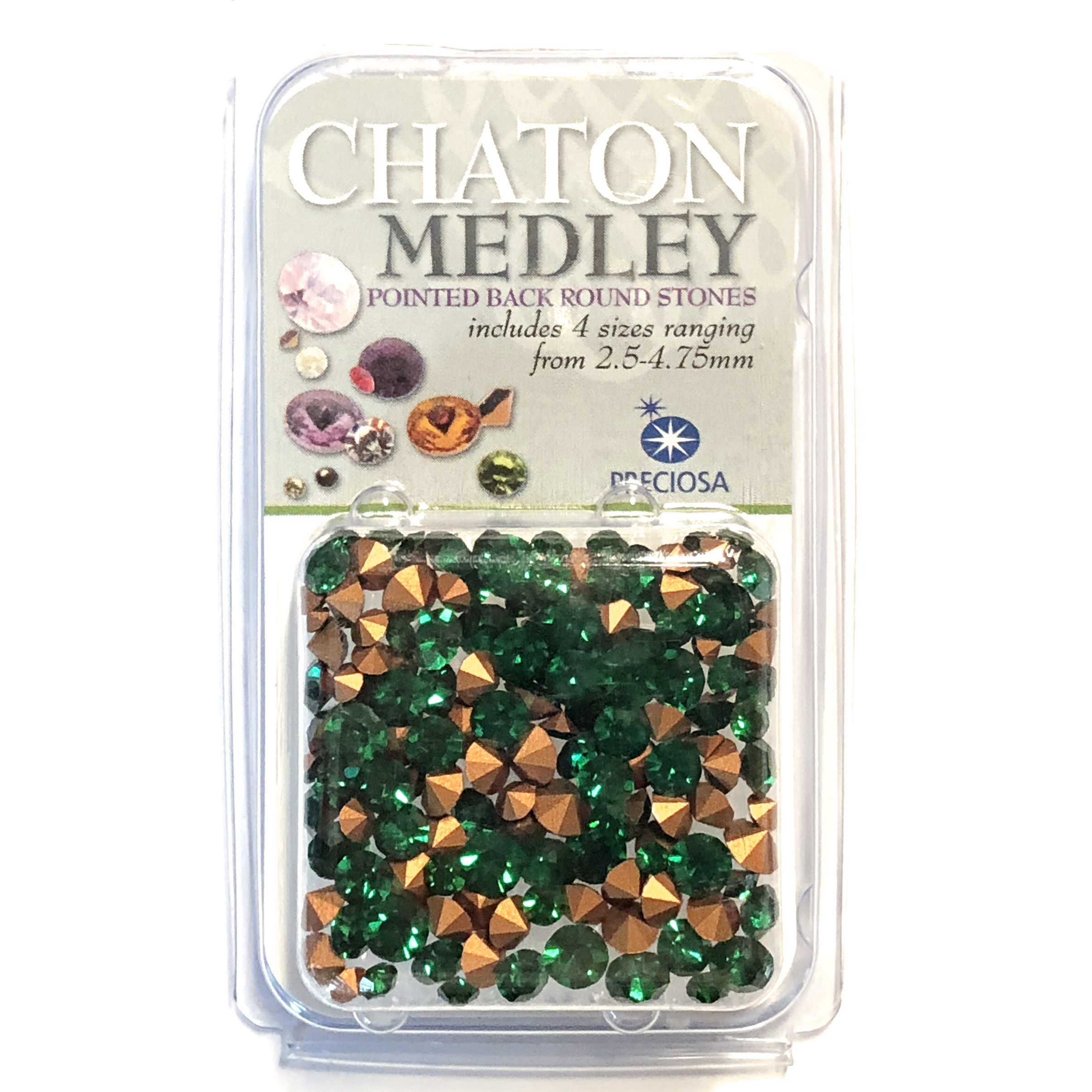 Emerald Green chatons, 08508, rhinestones, emerald, green rhinestones, emerald rhinestones, rhinestone, chaton, assorted sizes, chatons, Bsue Boutiques, pointed back, point back rhinestones, jewelry supplies, emerald green