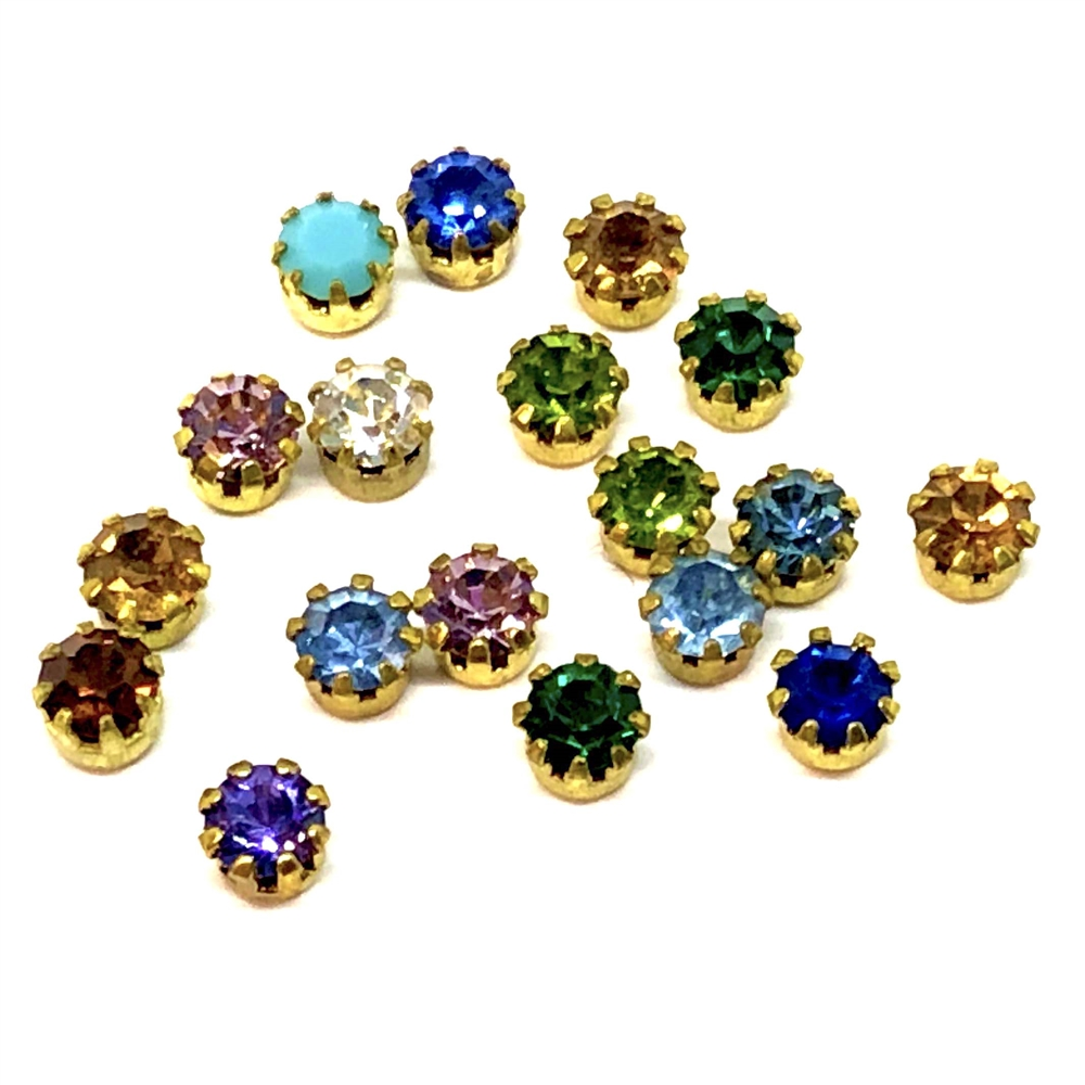 chatons, rhinestones, Swarovski, assorted colors, 09344, flat back, Tiffany style setting, mixed colors, assortment, crystals, embellishments, stones, rhinestone, B'sue Boutiques, jewelry supplies, findings