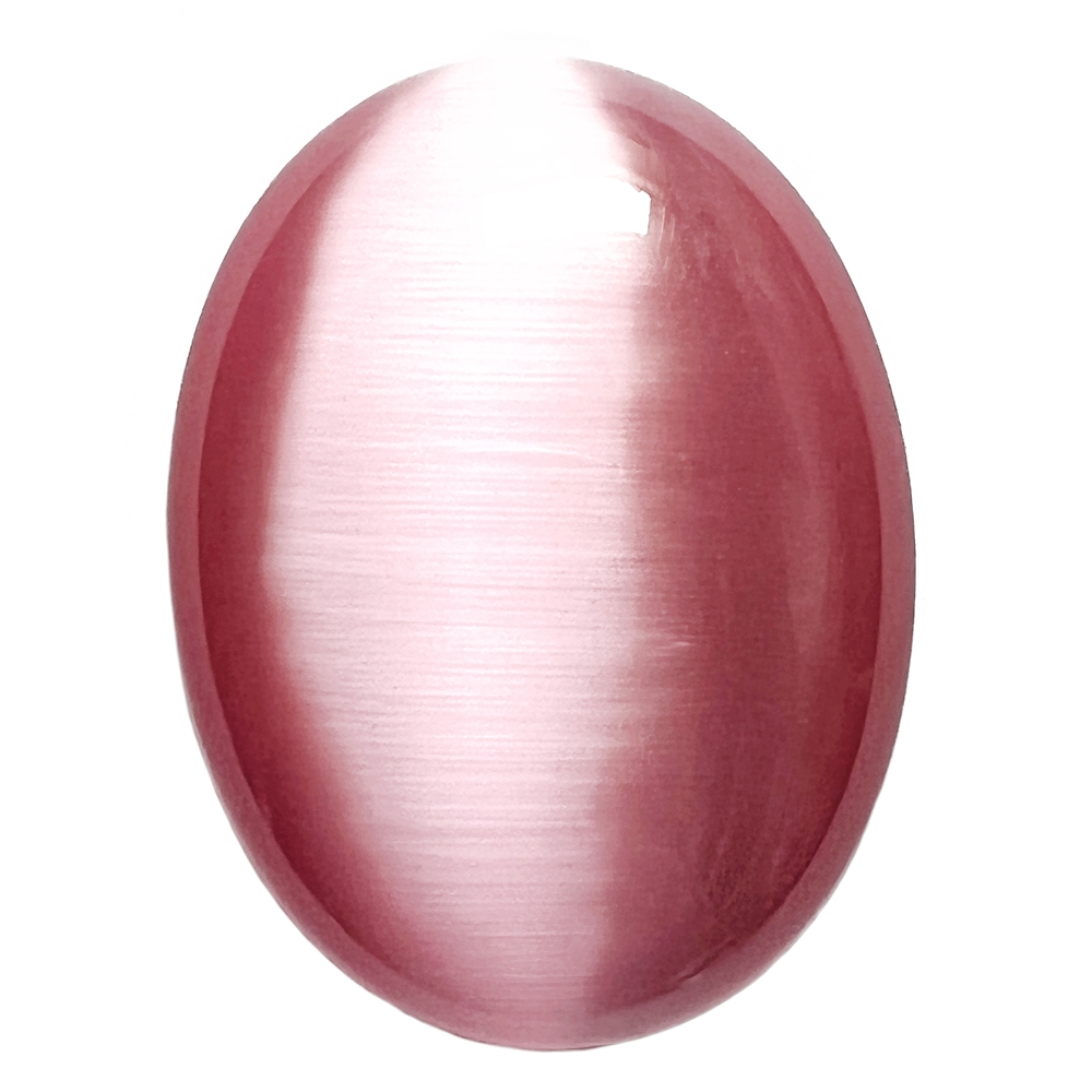 light pink cat's eye stone, focal stone, fiber optic, glass stone, glass, cat's eye, pink stone, cabochon, transparent, oval, glossy shine, oval stone, US made, B'sue Boutiques, jewelry stone, 40x30mm, jewelry making supplies, 09697