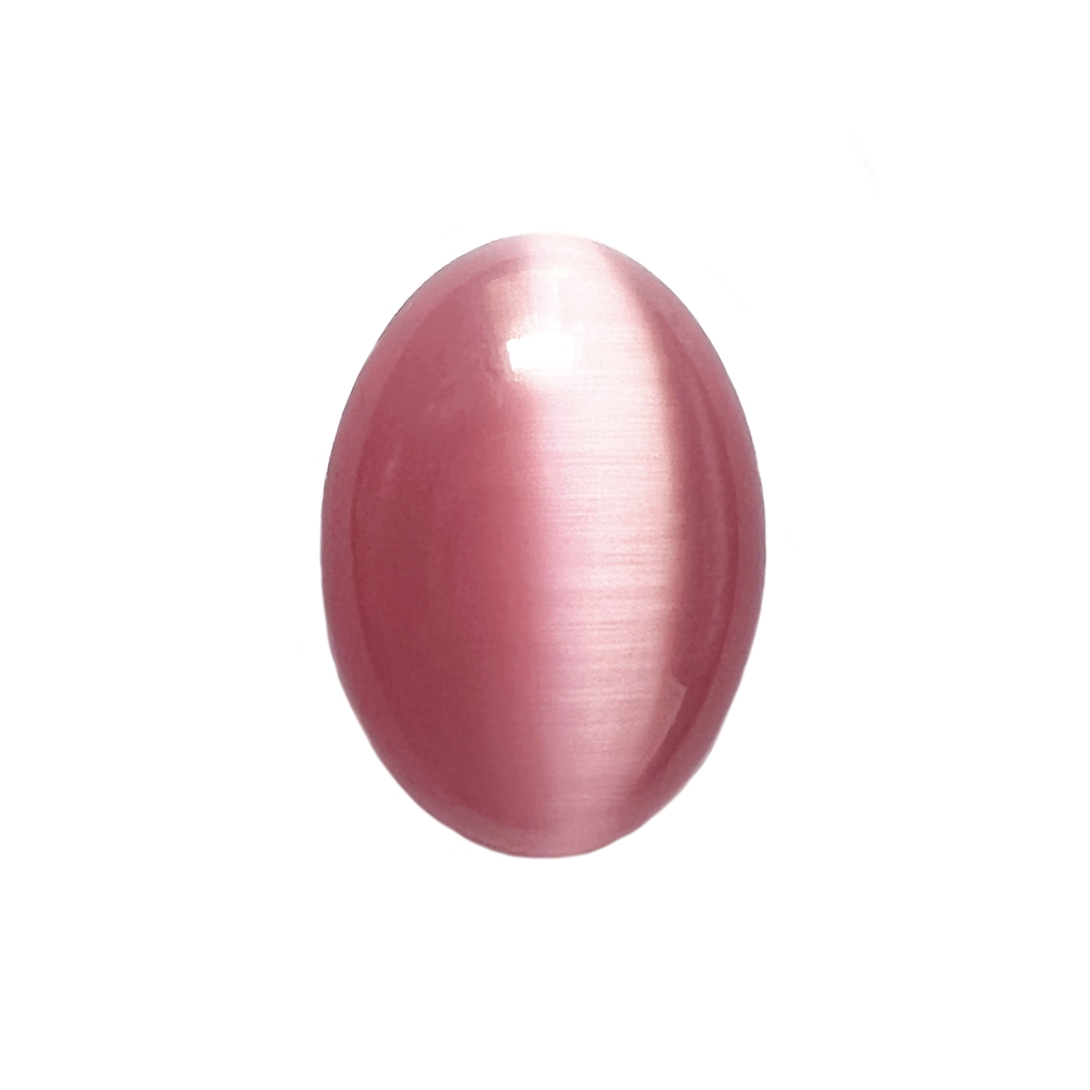 light pink cat's eye stone, focal stone, fiber optic, glass stone, glass, cat's eye, pink stone, cabochon, transparent, oval, glossy shine, oval stone, US made, B'sue Boutiques, jewelry stone, 25x18mm, jewelry making supplies, 09698