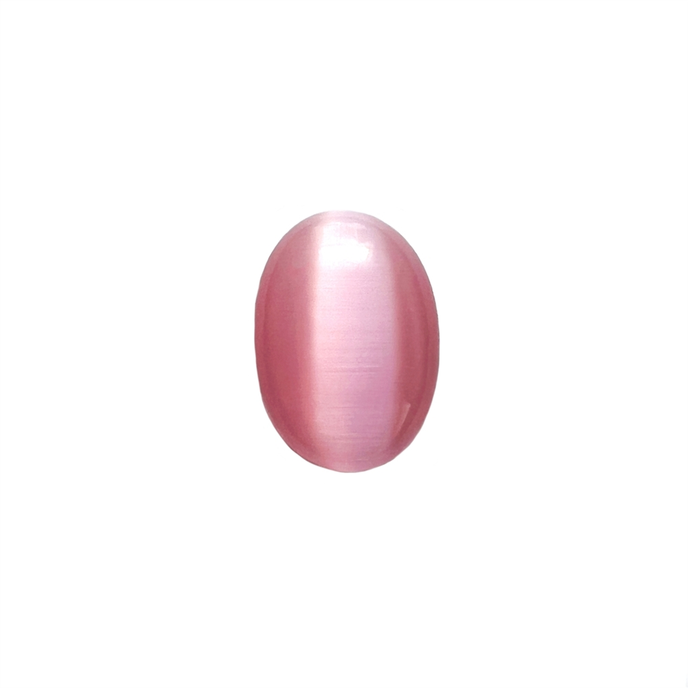 light pink cat's eye stone, focal stone, fiber optic, glass stone, glass, cat's eye, pink stone, cabochon, transparent, oval, glossy shine, oval stone, US made, B'sue Boutiques, jewelry stone, 18x13mm, jewelry making supplies, 09699