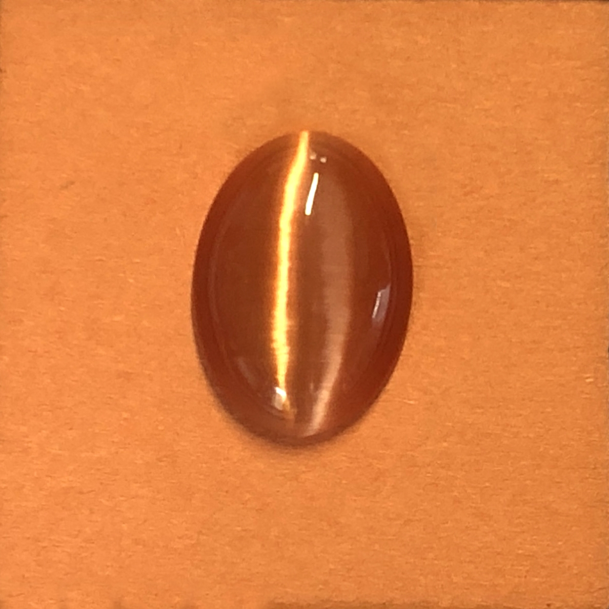 copper cat's eye stone, focal stone, fiber optic, glass stone, glass, cat's eye, copper stone, cabochon, transparent, oval, glossy shine, oval stone, US made, B'sue Boutiques, jewelry stone, 25x18mm, jewelry making supplies, 09701
