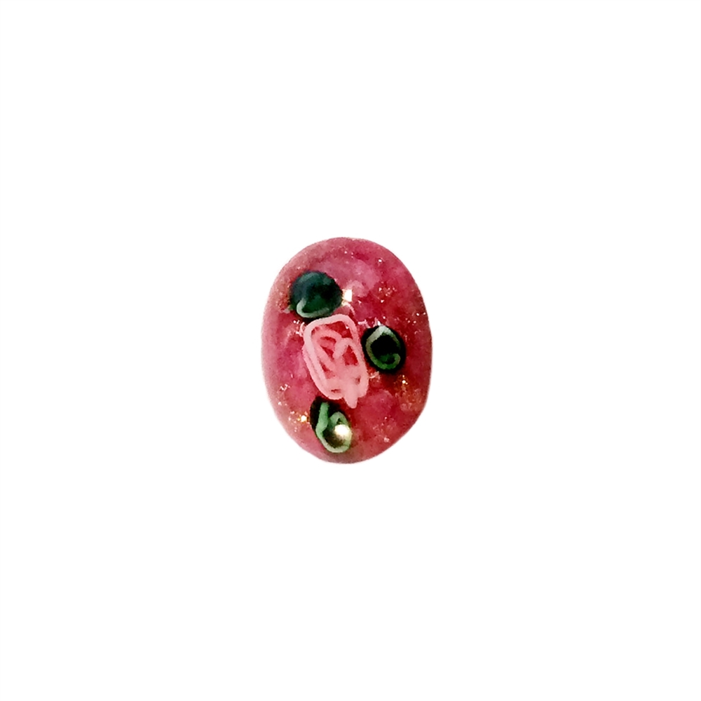 lampwork stones, dark rose pink, 09915, oval cabochons, rose flowers, flat back stones, jewelry making supplies, vintage jewelry supplies, European glass stones,