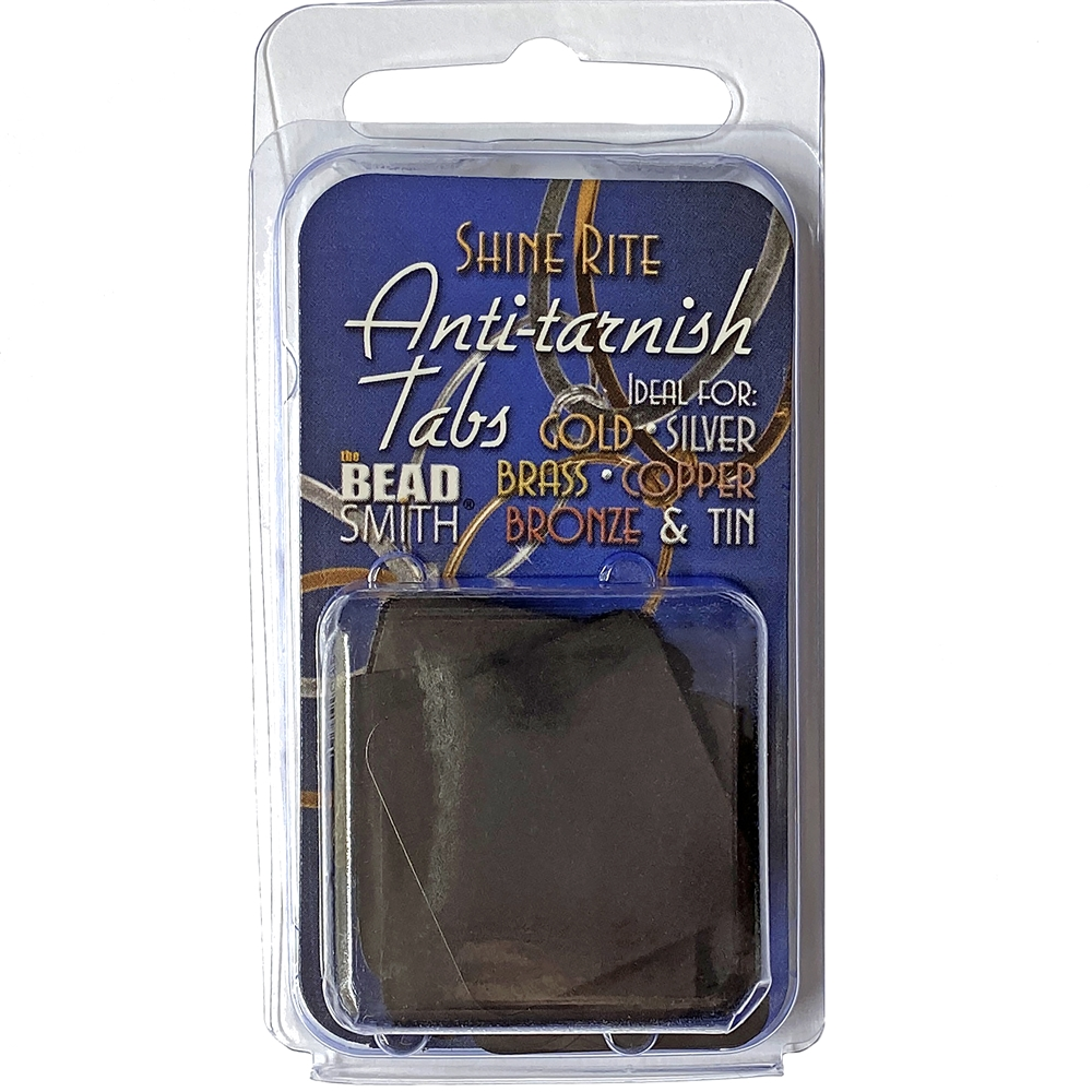 anti-tarnish tabs, shine rite, 1x1 inch tabs, protect tabs for jewelry, protects metals, 50 tabs, not tarnish jewelry, jewelry making, jewelry tool, jewelry supplies, beadsmith, vintage supplies, B'sue Boutiques, US-made, jewelry findings, 02342