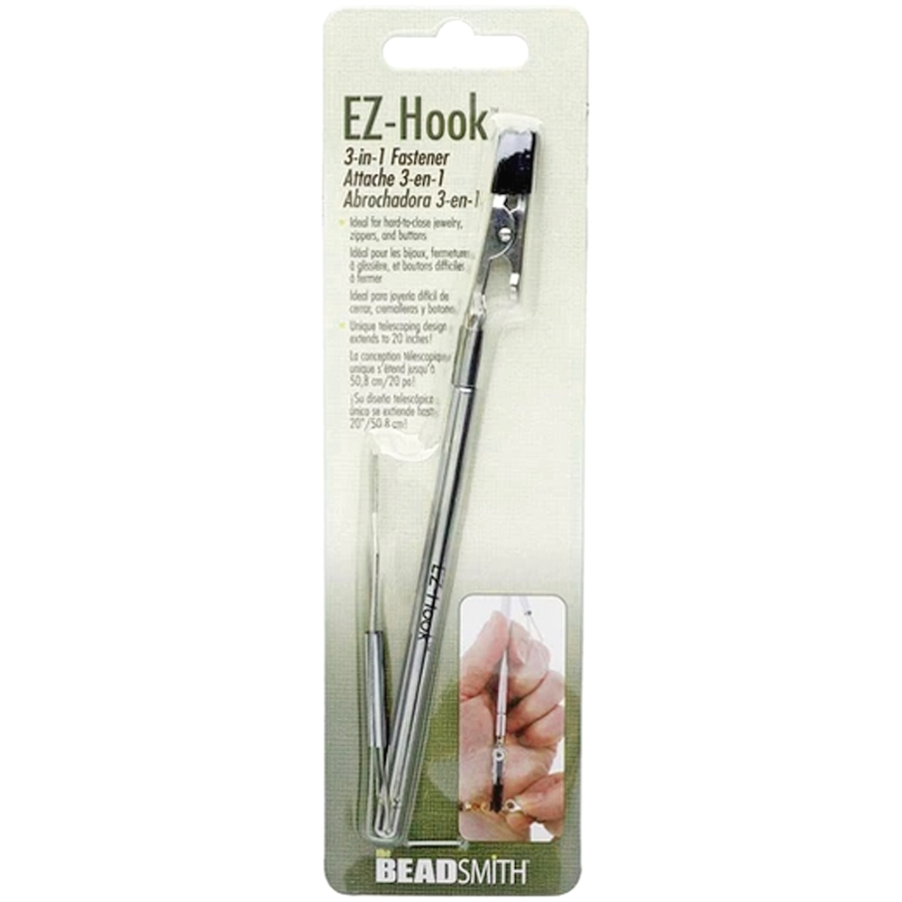 EZ-hook 3-in-1 fastener, jewelry tool, ez-hook, fastener tool, fastening bracelets, fastening necklace, fastening button, fastening zippers, fastening device, handy bracelet helper tool, tool, jewelry supplies, jewelry making, vintage supplies, 02615