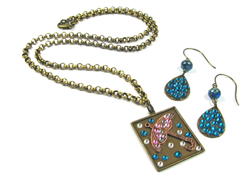 Fun With Flat Back Crystals & Metal Pendants By Michelle Mach