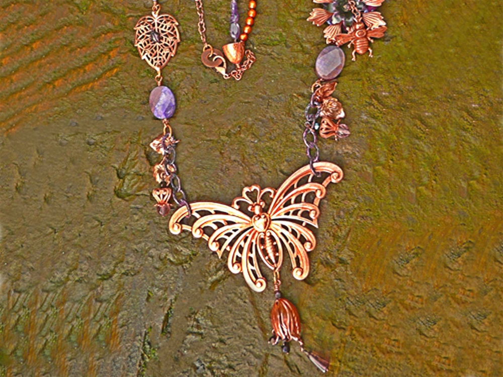 Old Rose Ox Butterfly Necklace By Linzi Alford