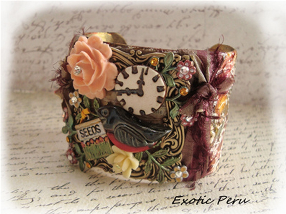 Time to Feed the Birds, Mixed Media Cuff By Cynthia Wainscott