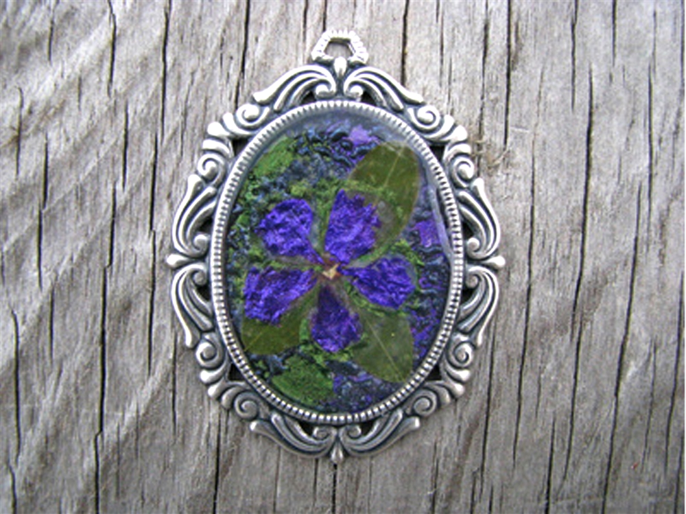 Dried Flowers Resin Pendant By Cindy Cima Edwards