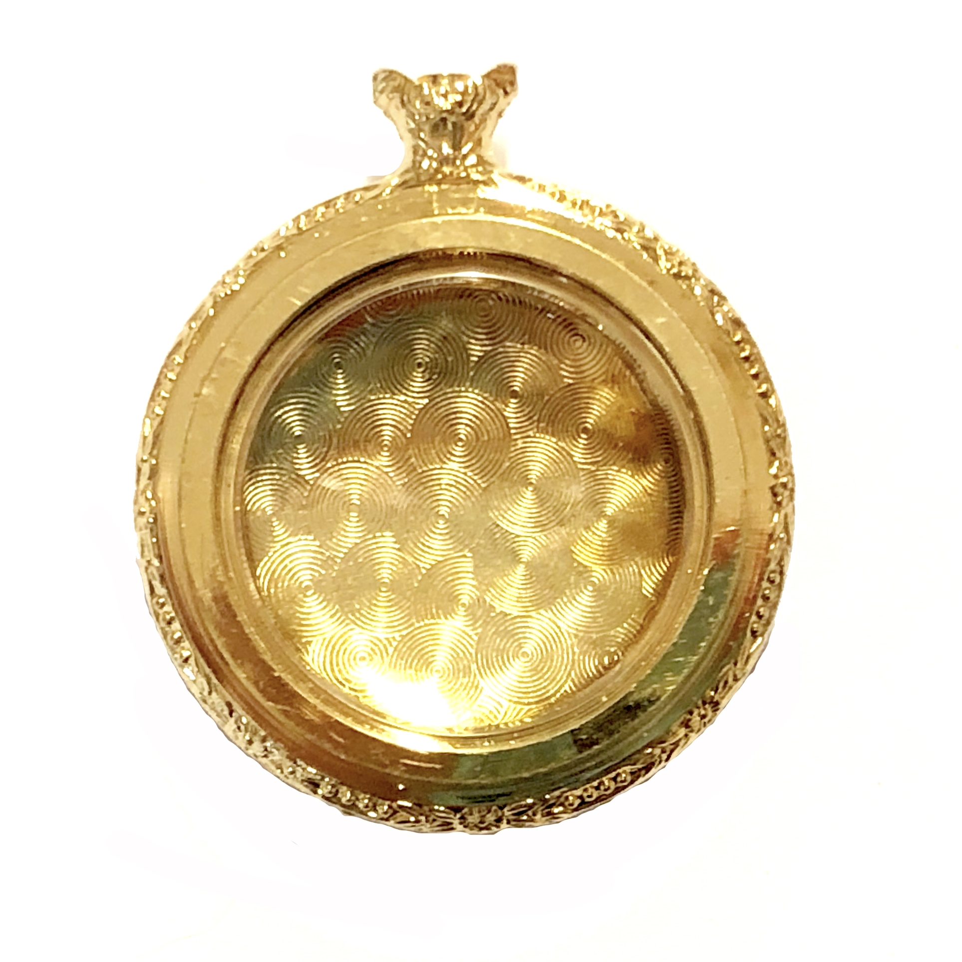 1928 pocket watch case, locket, 09297, gold plated, 40mm, floral motif, vintage watch parts, watch parts, vintage jewelry supplies, jewelry making, B'sue Boutiques, 1928, gold, bezel, watch case, watch bezel,