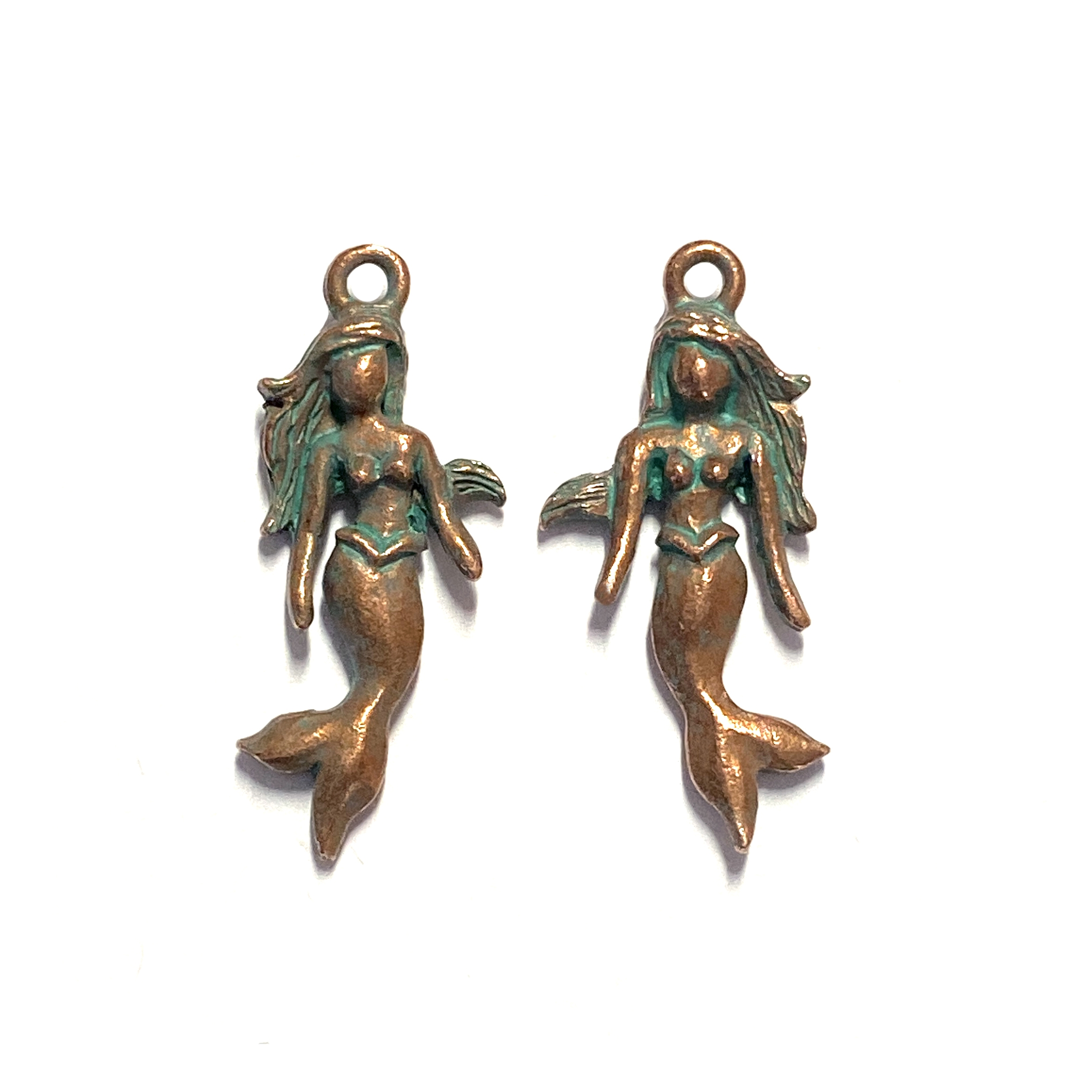 mermaid charms, weathered copper, lead free pewter, B'sue by 1928, vintage jewelry parts, pewter jewelry parts, nickel free, us made, 1928 jewelry, B'sue Boutiques, vintage supplies, jewelry supplies, pewter, 28x12mm, mermaids, charm, aqua patina, 01467