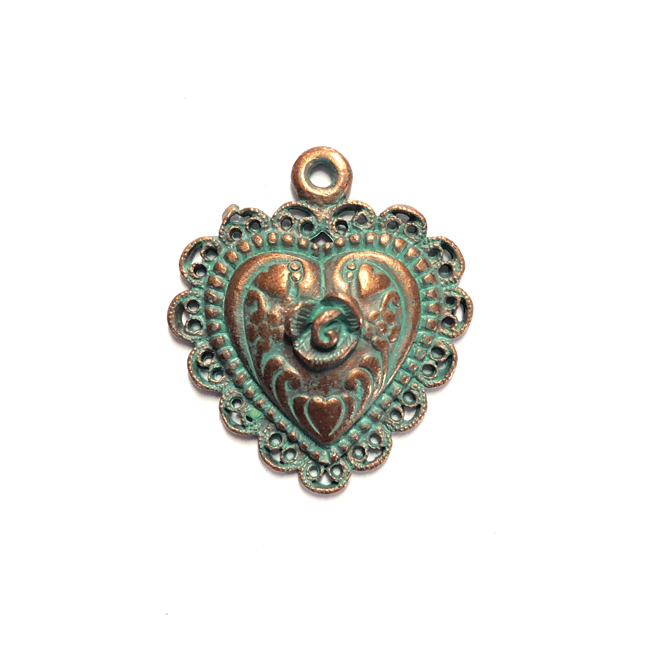 weathered copper pewter, rose heart pendant, 0238, heart charm, vintage, B'sue by 1928, lead free pewter castings, cast pewter jewelry findings, made in the USA, flower charm, weathered green patina, heart charm, 1928 Company, B'sue Boutiques