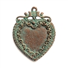 vintage pewter castings, B'sue by 1928, heart pendants, 0240, necklace making, weathered copper pewter, nickel free finish, lead free pewter, weathered green patina, made in the USA, designer jewelry, vintage jewelry supplies, 1928 Jewelry, B'sue Boutique