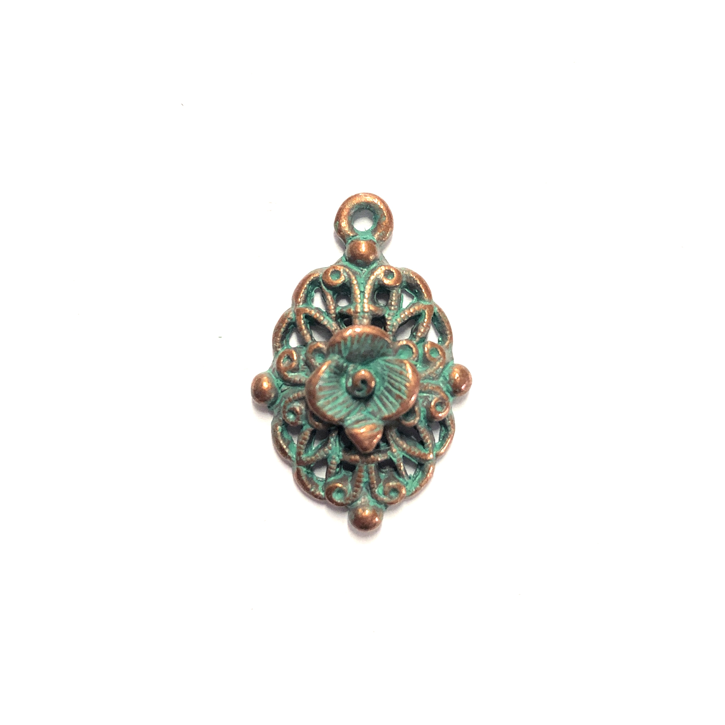 filigree flower charm, weathered copper, lead free, pewter castings, cast pewter jewelry parts, vintage, 1928 Jewelry, B'sue Boutiques, B'sue by 1928, vintage charms, vintage jewelry findings, weathered green patina, us made, 0241