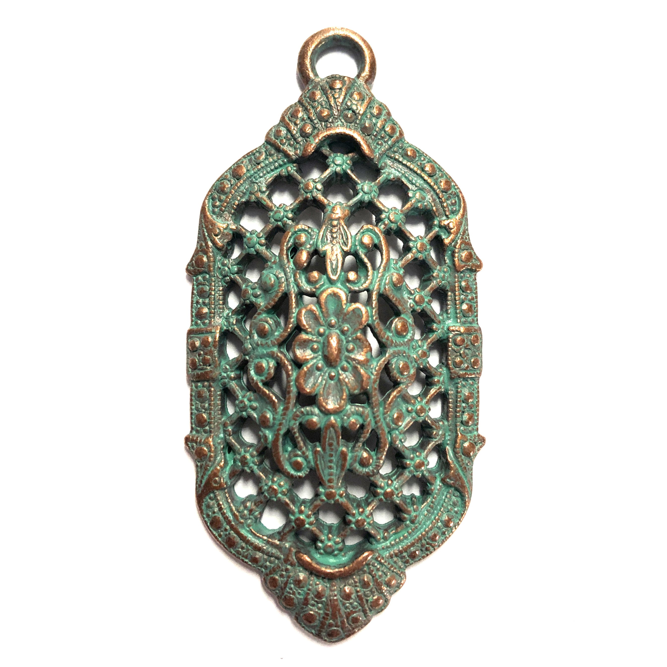 Victorian filigree pendant, lattice filigree, weathered copper, lead free, pewter castings, cast pewter jewelry parts, vintage, 1928 Jewelry, B'sue Boutiques, B'sue by 1928, weathered green patina, pewter jewelry findings, us made, 0242