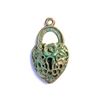 weathered copper pewter, heart lock pendant, 0243, heart pendant, vintage, B'sue by 1928, lead free pewter castings, cast pewter jewelry findings, made in the USA, key hole lock, 1928 Company, B'sue Boutiques, lock, weather copper patina