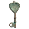 vintage pewter castings, B'sue by 1928, heart key pendant, 0258, weathered copper, nickel free finish, lead free pewter, vintage castings, mint green patina, made in the USA, vintage jewelry supplies, B'sue Boutiques, key, pendant
