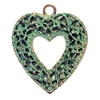 weathered copper, filigree heart, pendant, 0259, lead free, nickel free, pewter castings, cast pewter, vintage, 1928 Jewelry, B'sue Boutiques, B'sue by 1928, vintage jewelry findings, pewter, mint green patina