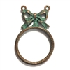 backless bow bezel pendant, vintage pewter castings, B'sue by 1928, jewelry pendant, cameo mount, nickel free, lead free pewter, weathered copper pewter, us made, designer jewelry, mint green patina, 1928 Jewelry, 0266