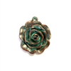 weathered copper, nickel free, rose, rose charms, 0268, lead free, pewter castings, cast pewter jewelry parts,  1928 Jewelry, B'sue Boutiques, B'sue by 1928, vintage charms, mint green patina, pewter jewelry findings, made in the USA