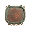 Beaded Edge Pendant, Lavalier, weathered copper, 0270, vintage pewter castings, B'sue by 1928,  nickel free, lead free pewter, mint green patina, US made, designer jewelry, vintage jewelry supplies, 1928 Jewelry, B'sue Boutiques, mount, frame