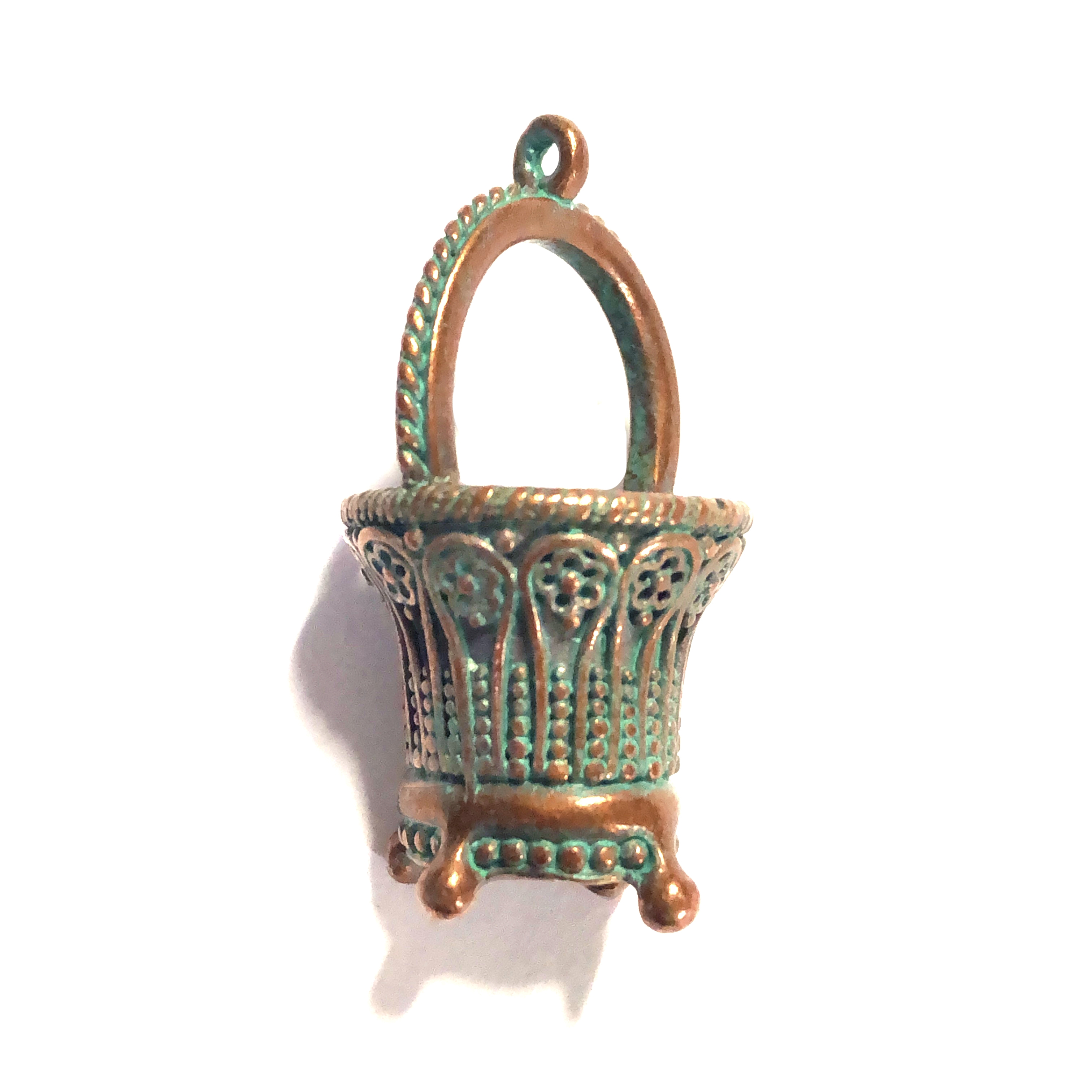 weathered copper, vintage designer basket, basket pendant, 0274, B'sue by 1928, lead free pewter castings, cast pewter jewelry findings, made in the USA, 1928 Company, B'sue Boutiques, mint green patina