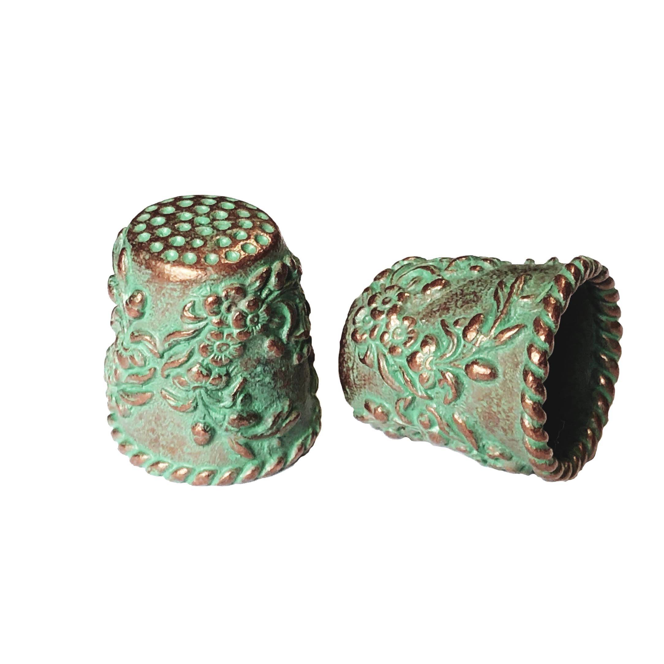 large floral thimble, thimble, floral rope design, vintage pewter castings, B'sue by 1928, floral, nickel free, lead free pewter, weathered copper, US made, green patina,  vintage jewelry supplies, 1928 Jewelry, B'sue Boutiques, vintage style, 0283