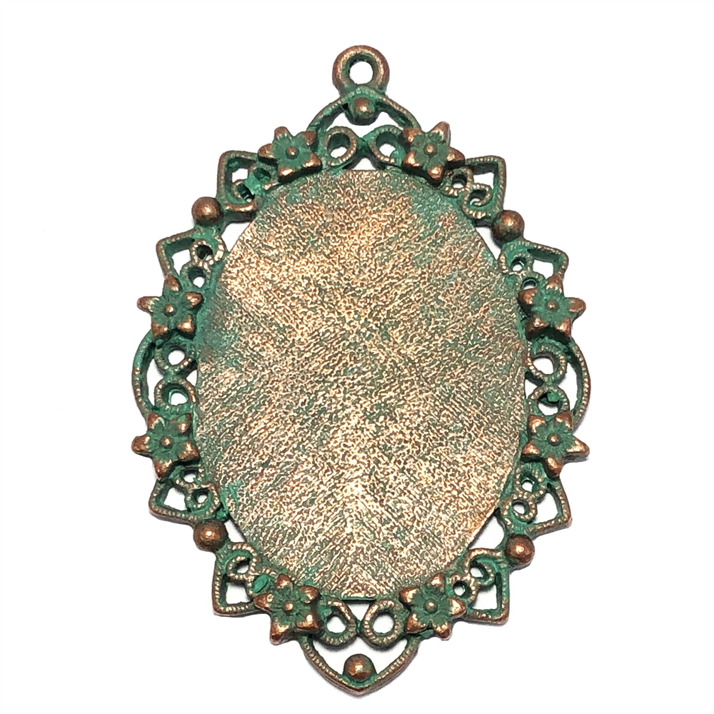 floral filigree pendent, jewelry pendant, lead free pewter, B'sue by 1928, vintage jewelry parts, pewter jewelry parts, nickel free finish, us made, 1928 Company, designer jewelry, B'sue Boutiques, weathered copper pewter, pendent, mount,40x30mm, 0287
