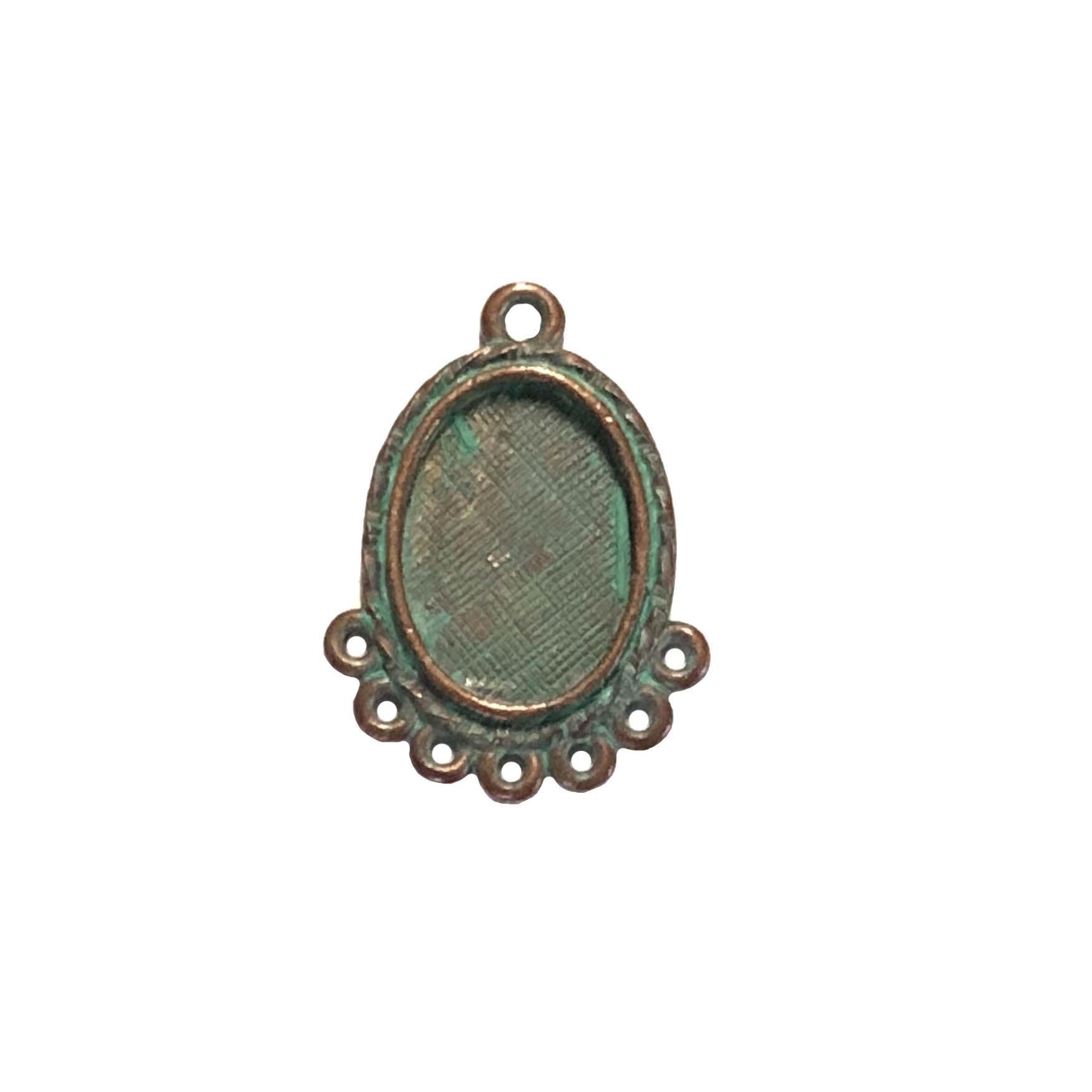 oval drop pendant, weathered copper pewter, Victorian pendant, lead free pewter, B'sue by 1928, green patina, vintage jewelry parts, nickel free, us made, 1928 Company, designer jewelry, B'sue Boutiques, gypsy style pendant, 13x10mm mount, 0289