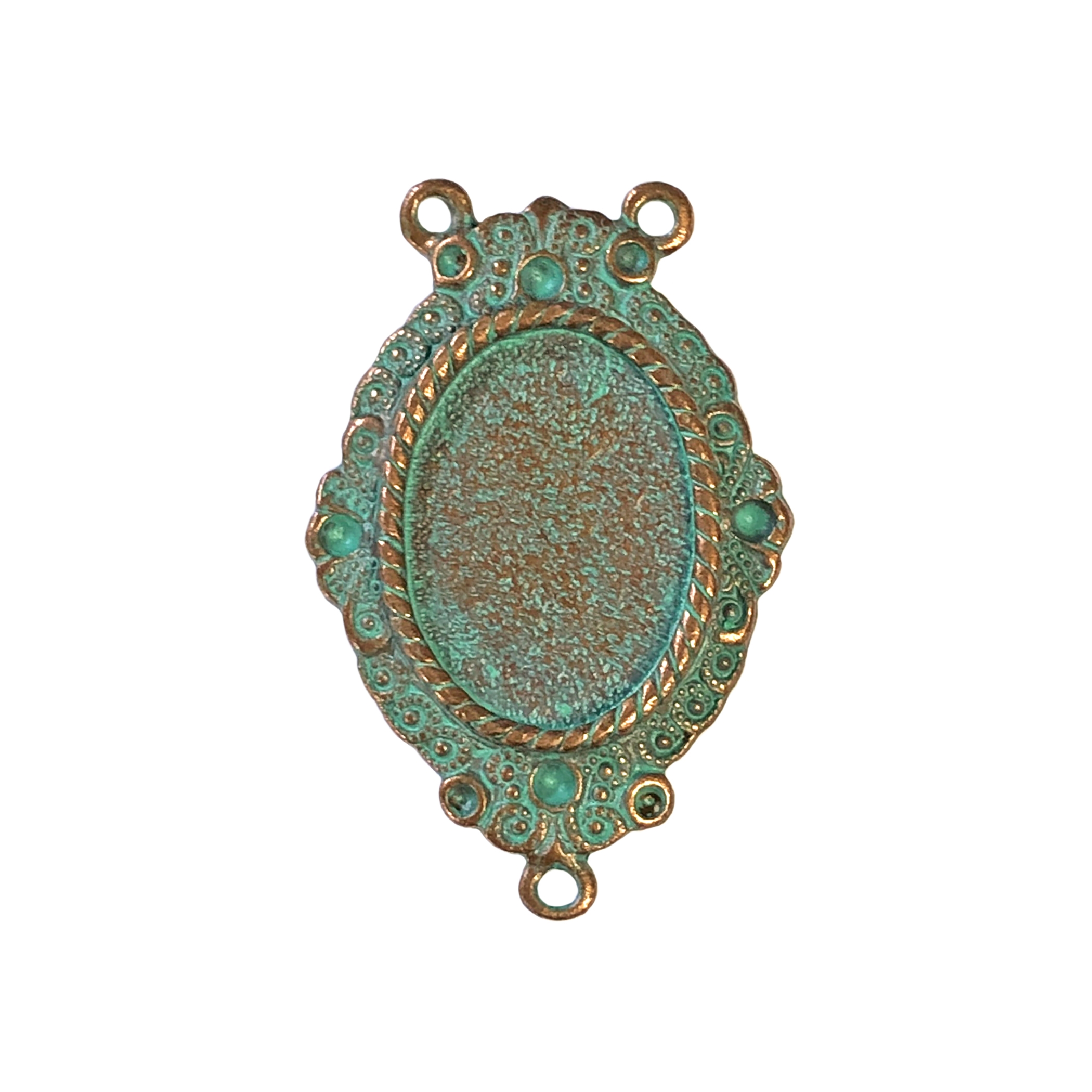 lavalier style necklace pendant, weathered copper, Victorian pendant, pendant, copper, lavalier, aqua pendant, necklace pendant, jewelry pendant, jewelry making, jewelry supplies, 31x23mm, 18x13mm mount, mount, bezel, B'sue Boutiques, 1928 Company, 0294