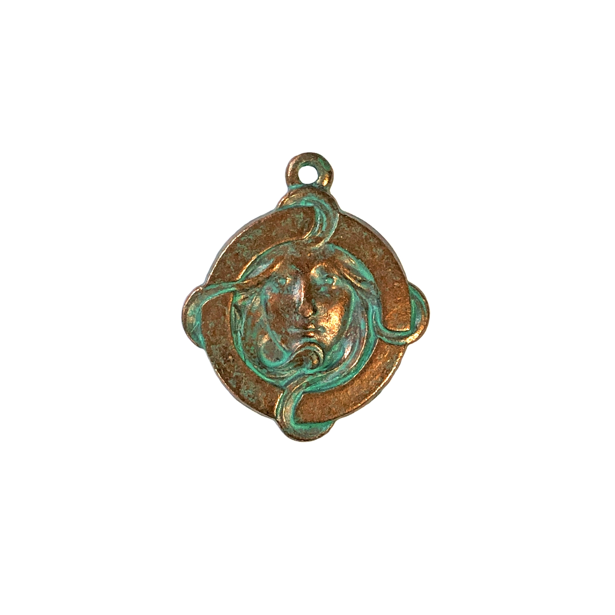 mucha lady pendant, weathered copper pewter, aqua pendant, lady pendant, pendant, pewter castings, US made, 1928 Company, b'sue by 1928, weathered copper pendant, 24x20mm, lady aqua pendant, copper, weathered, patina pendant, charm, jewelry pendant, 0295