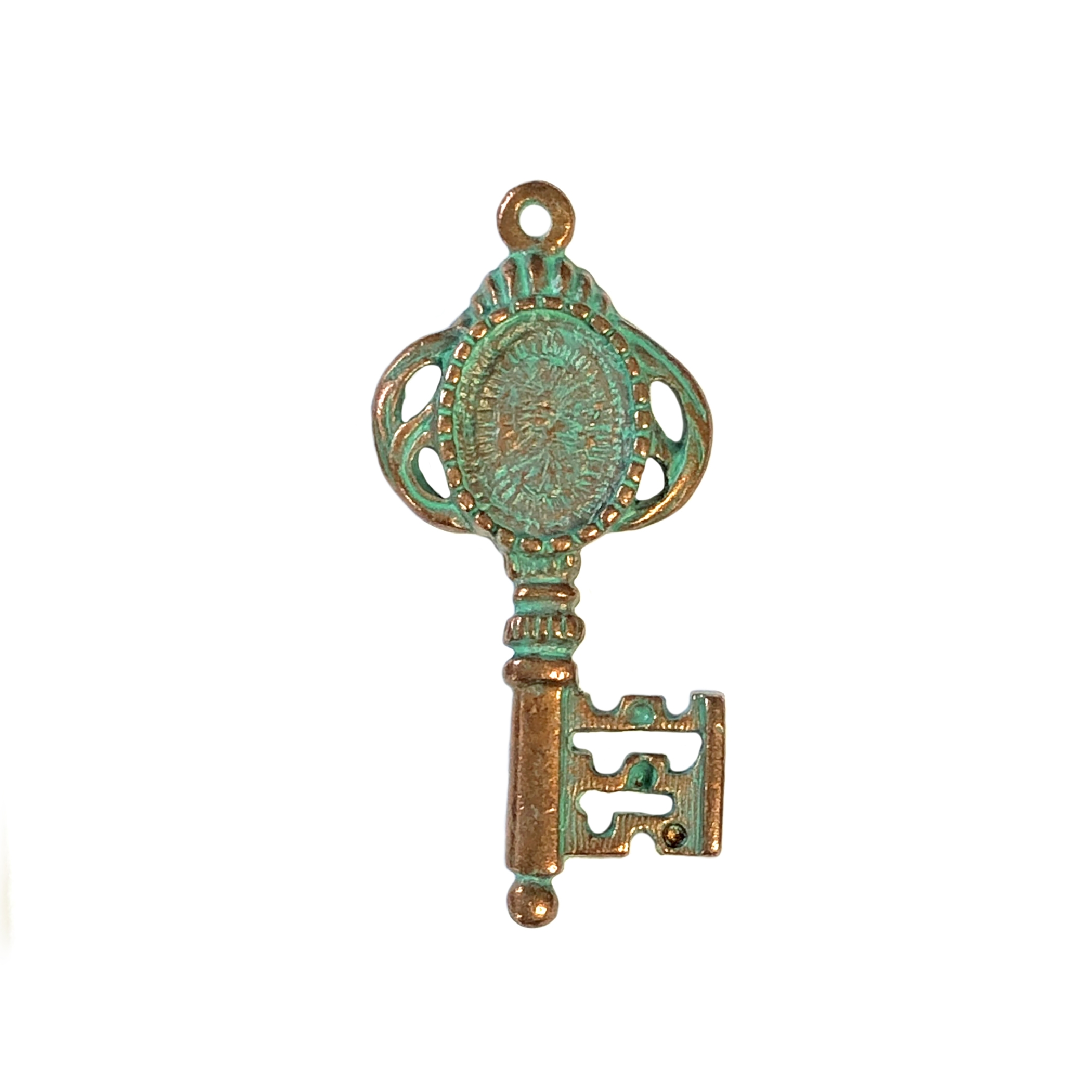 weathered copper pewter key, lead free pewter, 0300, key pendant, lead free pewter jewelry findings, vintage jewelry parts, nickel free finish, B'sue by 1928, vintage jewelry findings, pewter jewelry parts, US made, 1928 Jewelry, pewter key