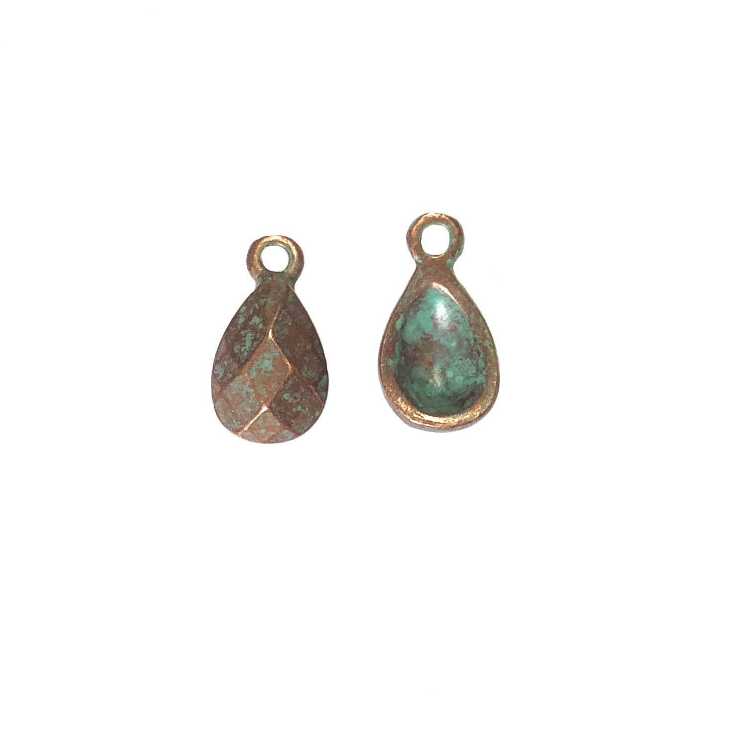Victorian ear drop, jewelry charm, 0302, lead free pewter, B'sue by 1928, weathered copper, vintage jewelry parts, pewter jewelry parts, nickel free finish,us made, 1928 Company, designer jewelry, B'sue Boutiques, weathered green patina