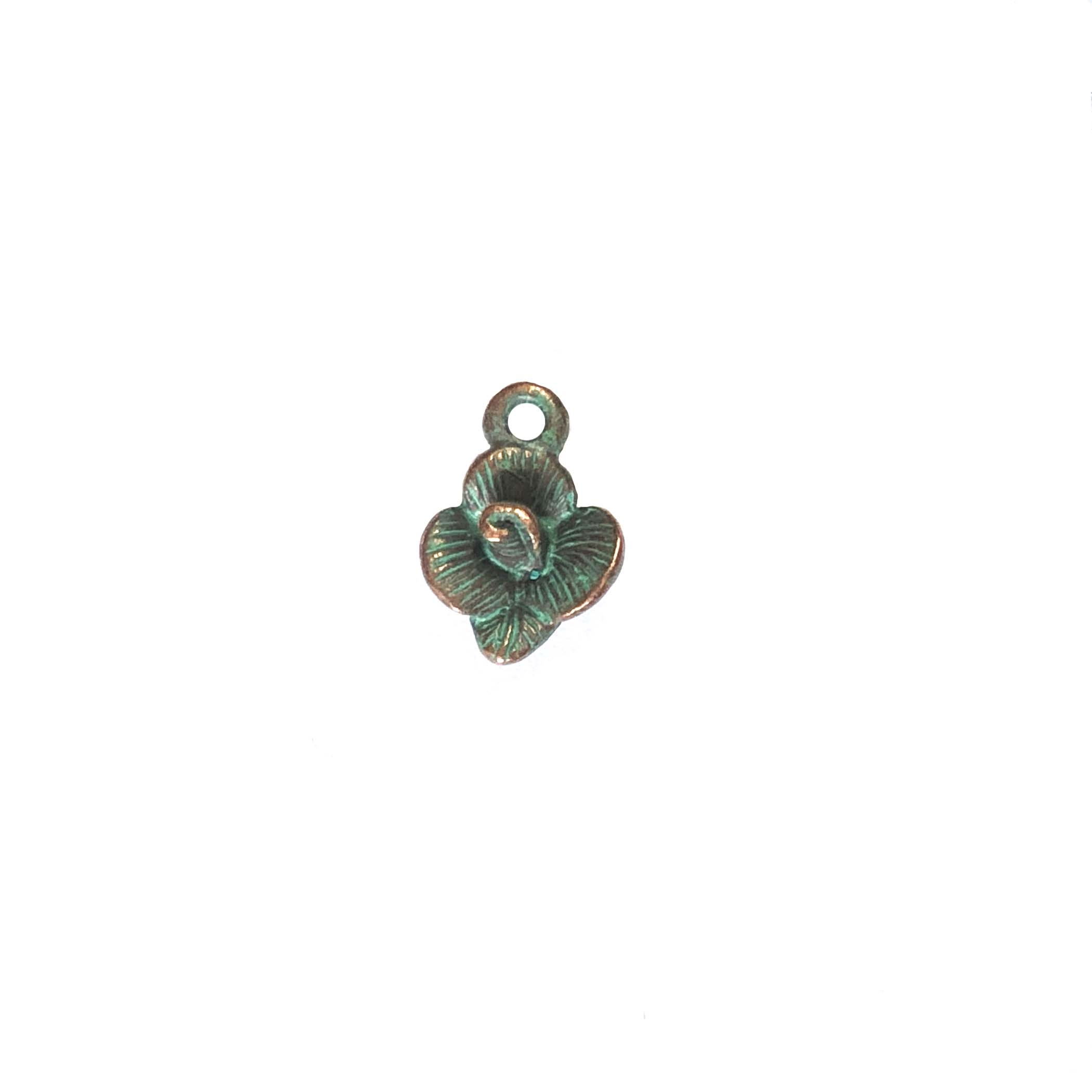 vintage pewter castings, B'sue by 1928, floral charms, bracelet making, weathered copper, nickel free, lead free pewter, us made, designer jewelry, vintage jewelry supplies, green patina, B'sue Boutique, 13x9mm, flower charm, charm, flower,0303