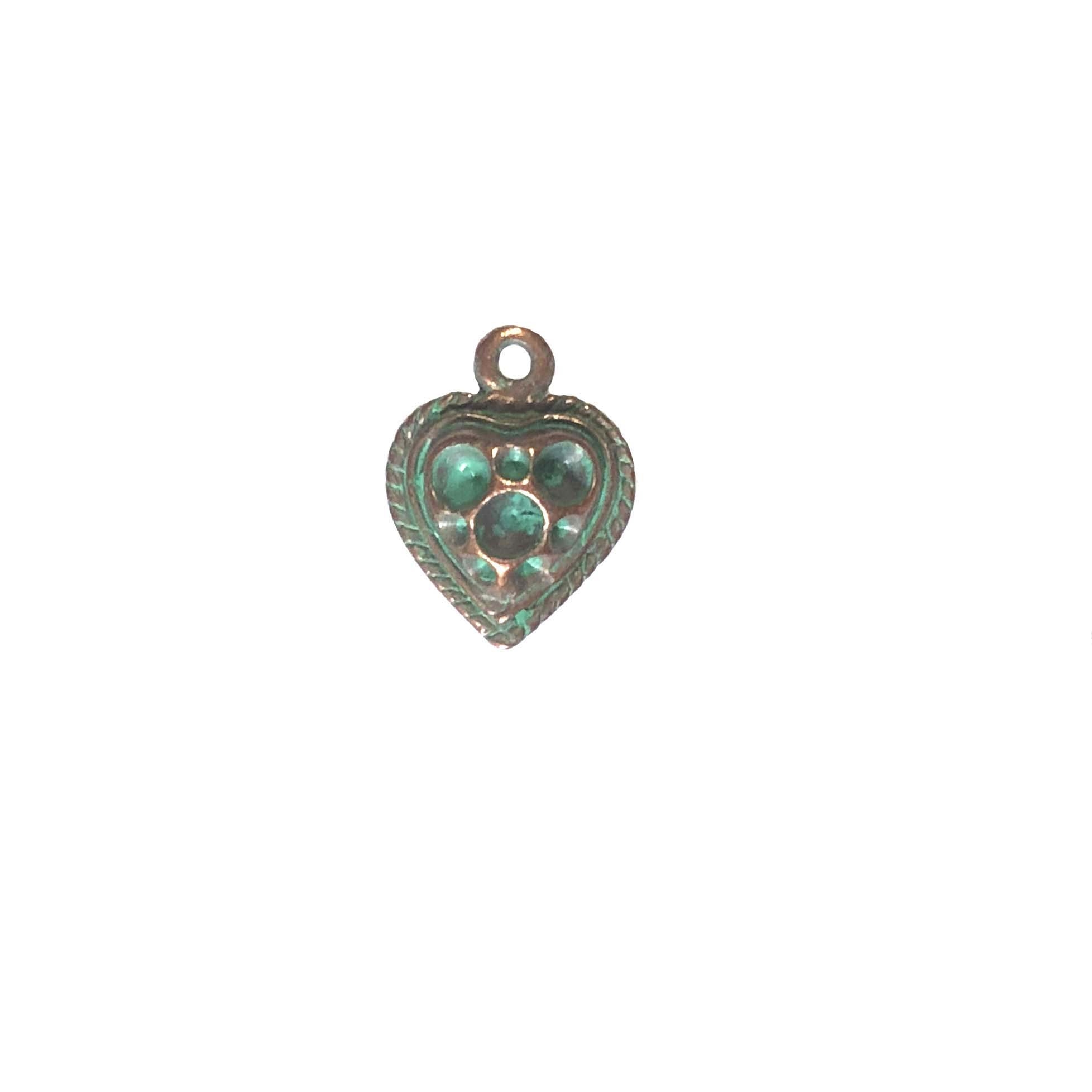 vintage pewter castings, B'sue by 1928, heart charms, bracelet making, weathered cop, nickel free, lead free pewter, green patina, us made, stone set hearts, vintage supplies, 1928 jewelry, B'sue Boutiques, 15x11mm, heart, charm, pewter, copper 0304