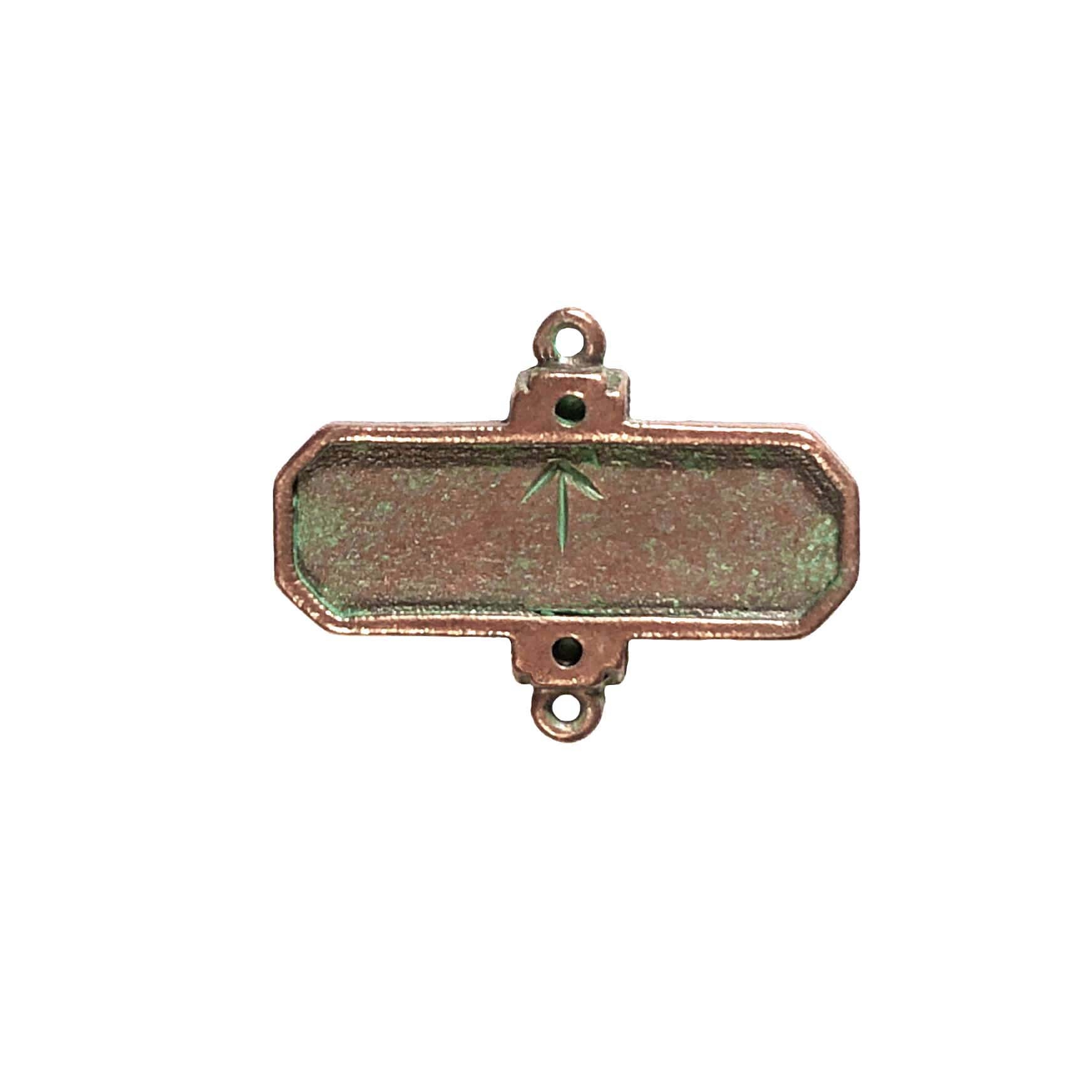 rectangle bezel connector, weathered copper pewter, B'sue by 1928, jewelry connector, bracelet making, nickel free, lead free pewter, green patina, us made, designer jewelry, vintage jewelry supplies, 1928 Jewelry, B'sue Boutiques, 20x26mm, mount, 0308