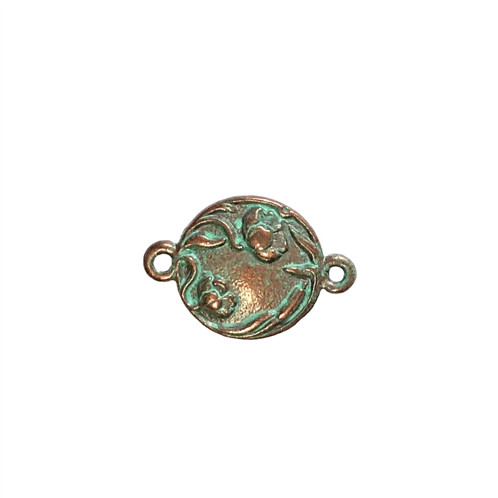 weathered copper, floral connector, ear drop, pendant, 0309, vintage, B'sue by 1928, lead free pewter castings, cast pewter jewelry findings, made in the USA, 1928 Company, B'sue Boutiques, weathered green patina