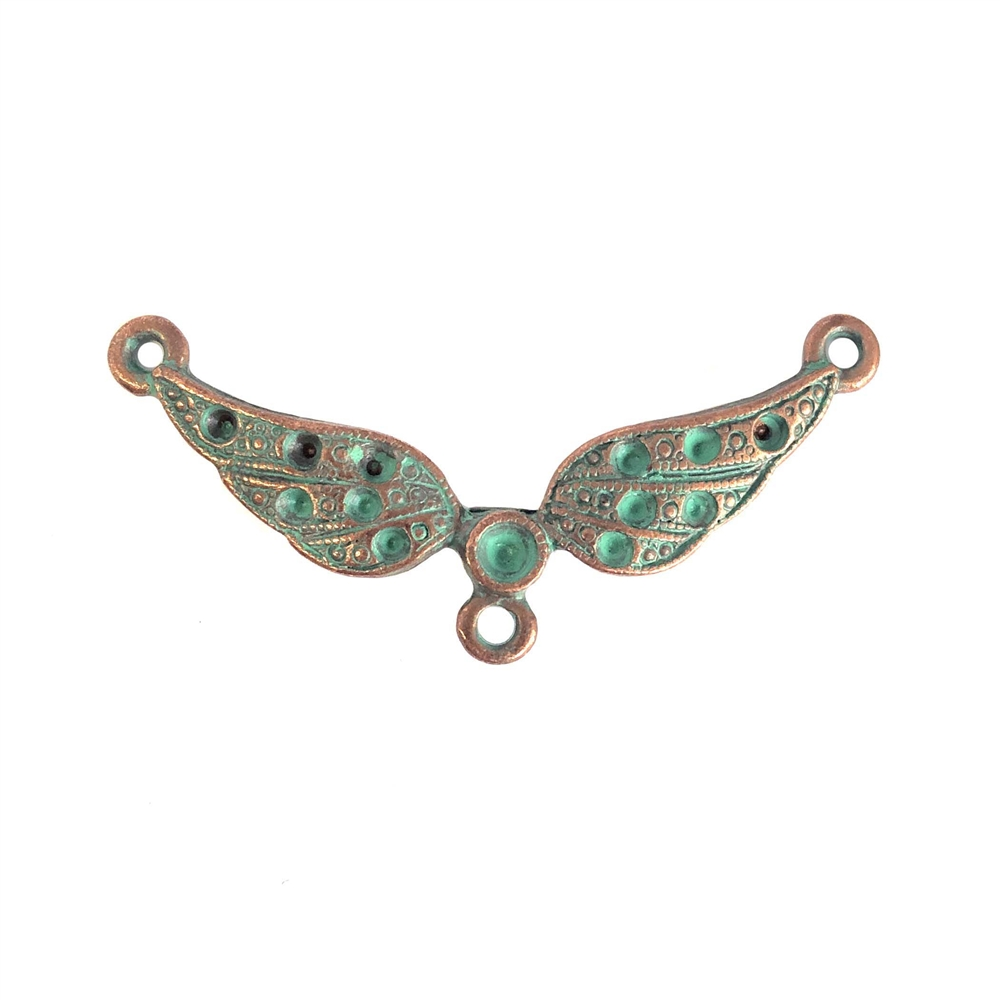 weathered copper pewter, Steampunk wings, connectors, 0324, lead free pewter, B'sue by 1928, 1928 Company, designer jewelry findings, vintage jewelry parts, 1928 Jewelry, plated pewter, B'sue Boutiques, US made, mint green patina