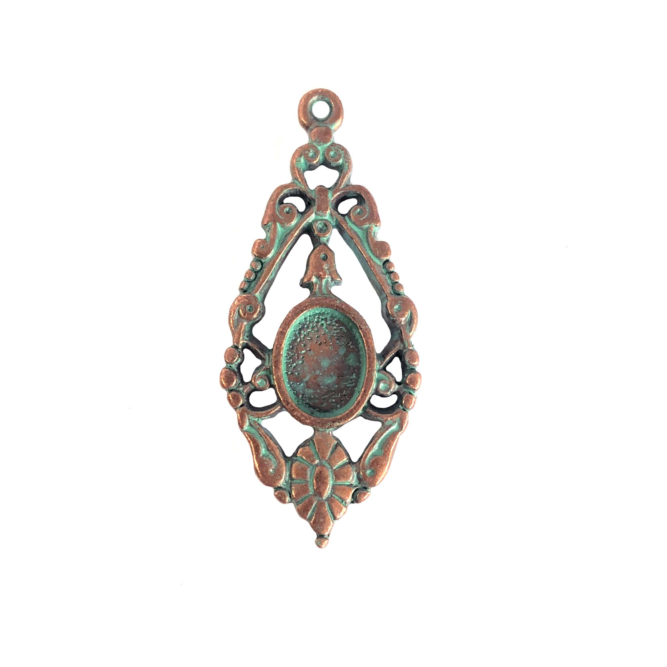 vintage pewter castings, B'sue by 1928, tear drop pendant, 0325, earring, weathered copper, nickel free finish, lead free pewter, mint green patina, made in the USA, designer jewelry, vintage jewelry supplies, 1928 Jewelry, B'sue Boutique, ear drop, mount