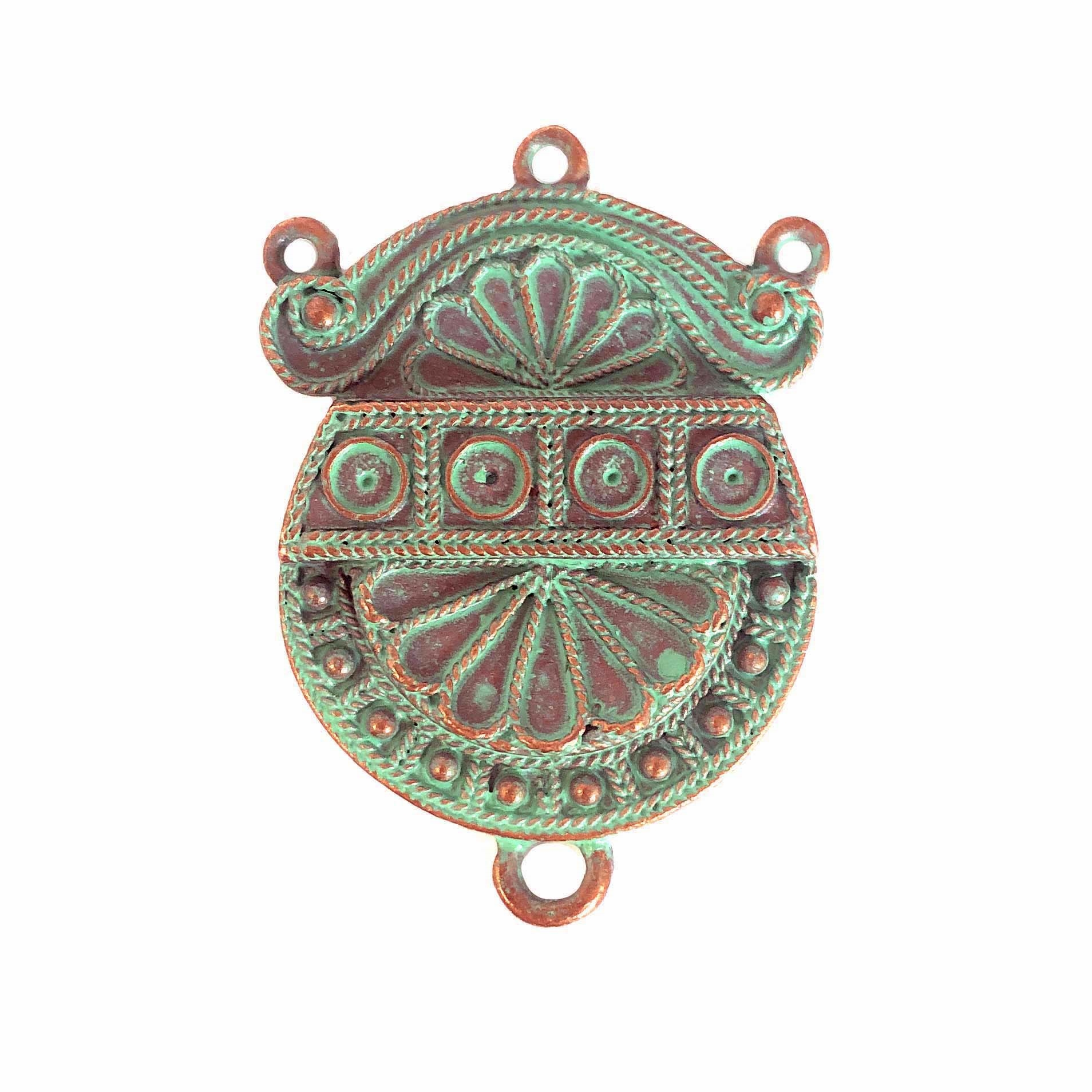 victorian centerpiece pendant, weathered copper pewter, victorian pendant, lead free pewter, B'sue by 1928, mint green patina, vintage jewelry parts, nickel free, us made, 1928 Company, designer jewelry, B'sue Boutiques, 34x26mm, 0326