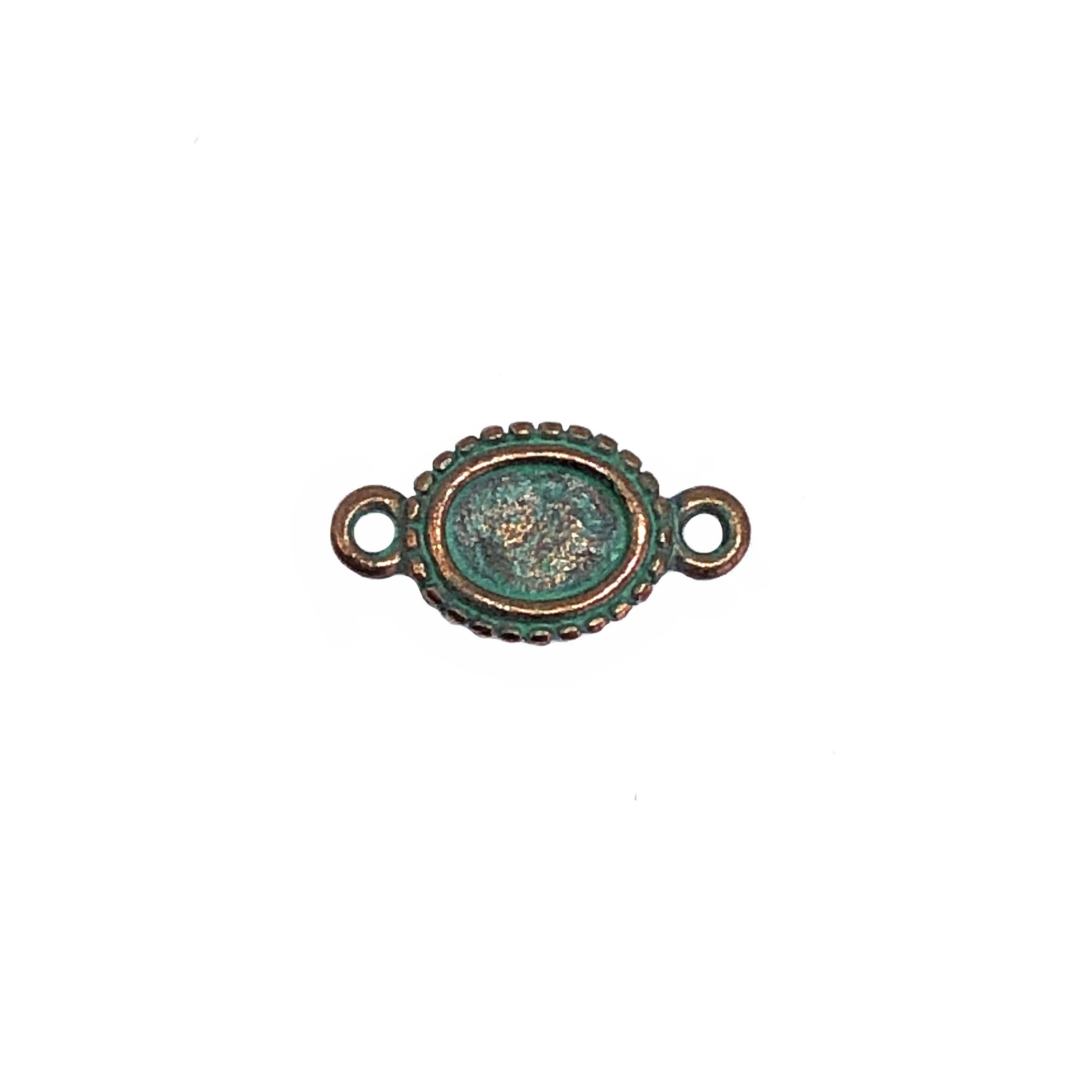 vintage pewter castings, B'sue by 1928, jewelry connector, bracelet making, weathered copper, nickel free, lead free pewter, cameo mount, mint green patina, us made, designer jewelry, vintage supplies, 1928 jewelry, B'sue Boutiques, 9x6mm mount, 0330
