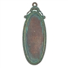 victorian style oblong pendant, B'sue by 1928, Victorian pendant mount, cameo mount, stone mount, rusted iron, iron, pendant, vintage, nickel free, lead free pewter, vintage castings, US made, vintage supplies, 1928 Jewelry, B'sue Boutiques, 05640