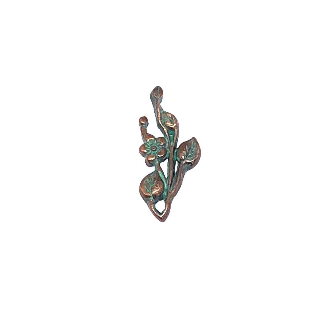 floral leaf sprig, vintage pewter castings, B'sue by 1928, flower, leaf, charm, pendant, floral, nickel free, lead free pewter, weathered copper, us made, mint green patina, vintage jewelry supplies, 1928 Jewelry, B'sue Boutiques, vintage style, 0333