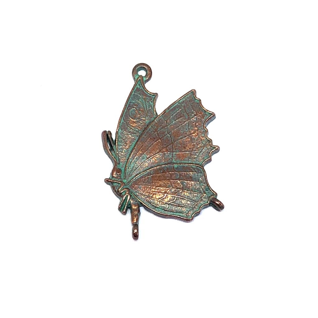 butterfly charm, butterfly, weathered copper, lead free pewter castings, B'sue by 1928, 1928 Company, designer jewelry findings, vintage jewelry parts, 1928 Jewelry, charm, B'sue Boutiques, US made, pendant, 0335, mint green patina