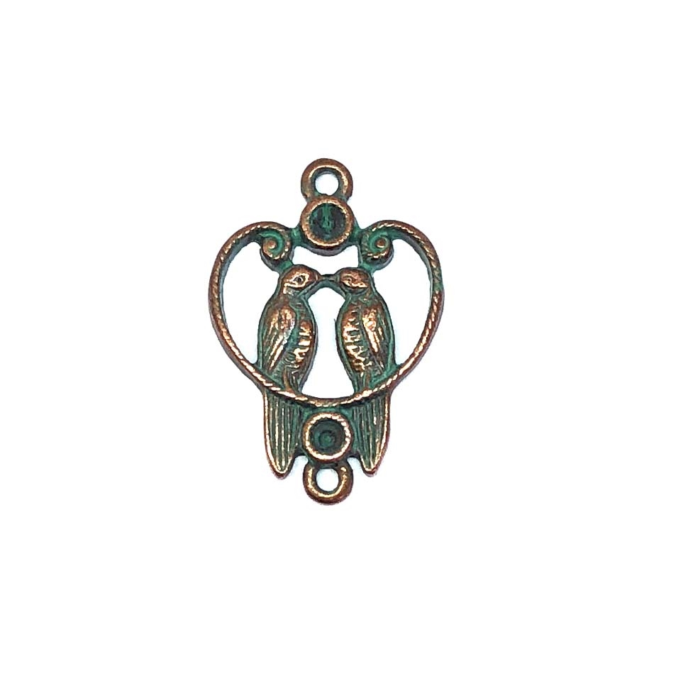 lovebirds pendant, weathered copper pewter, pewter castings, vintage jewelry supplies, pewter pendants, heart pendants, jewelry making, B'sue by 1928, B'sue Boutiques, bird pendant, birds, love birds, pendant, pewter, mint green patina, 27x19mm, 0336