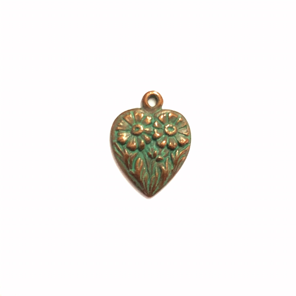 weathered copper pewter, daisy heart charms, 0344, heart charm, vintage, B'sue by 1928, lead free pewter castings, cast pewter jewelry findings, made in the USA, flower charm, heart charm, 1928 Company, B'sue Boutiques