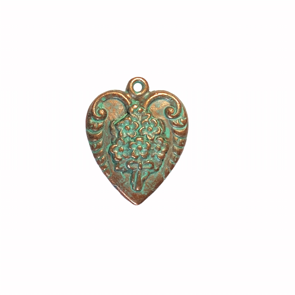 weathered copper pewter, floral bouquet pendant, 0353, heart charm, vintage, B'sue by 1928, lead free pewter castings, cast pewter jewelry findings, made in the USA, flower charm, heart charm, 1928 Company, B'sue Boutiques, mint green patina