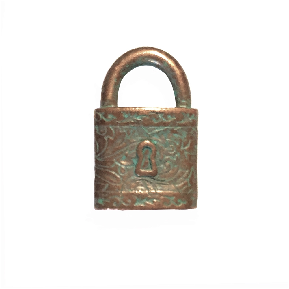 Victorian square style lock, pendant, victorian square lock stamping, lock, weathered copper pewter, 3d charm, vintage style, green patina, us made, nickel free, B'sue Boutiques, lead free pewter, vintage supplies, jewelry making, 0356