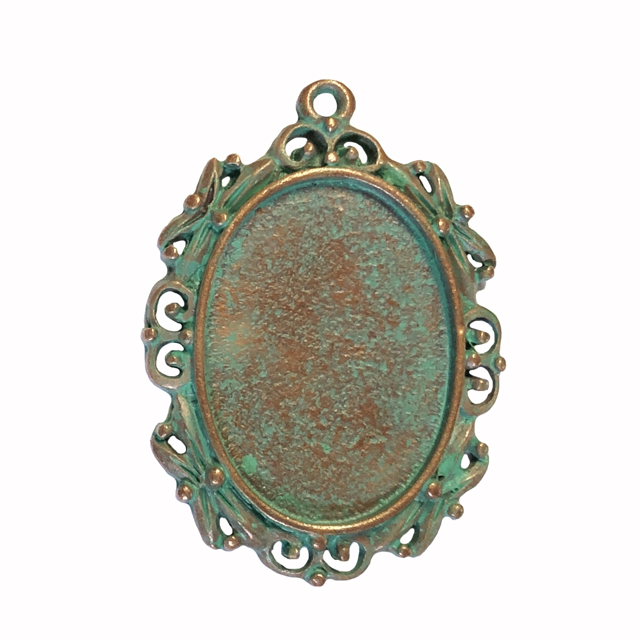 vintage pewter castings, B'sue by 1928, Victorian pendants, cameo mounts, stone mounts, weathered copper, nickel free finish, lead free pewter, vintage castings, mint green patina, made in the USA, vintage jewelry supplies,1928 Jewelry, B'sue, 0362